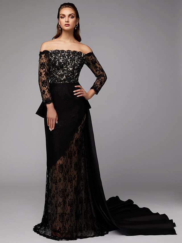 Two Piece Sheath / Column Elegant Celebrity Style Formal Evening Dress Off Shoulder Long Sleeve Court Train Lace Satin with Appliques 2020 / Illusion Sleeve