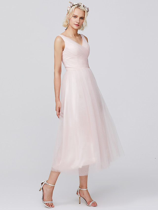 A-Line V Neck Tea Length Tulle Bridesmaid Dress with Pleats