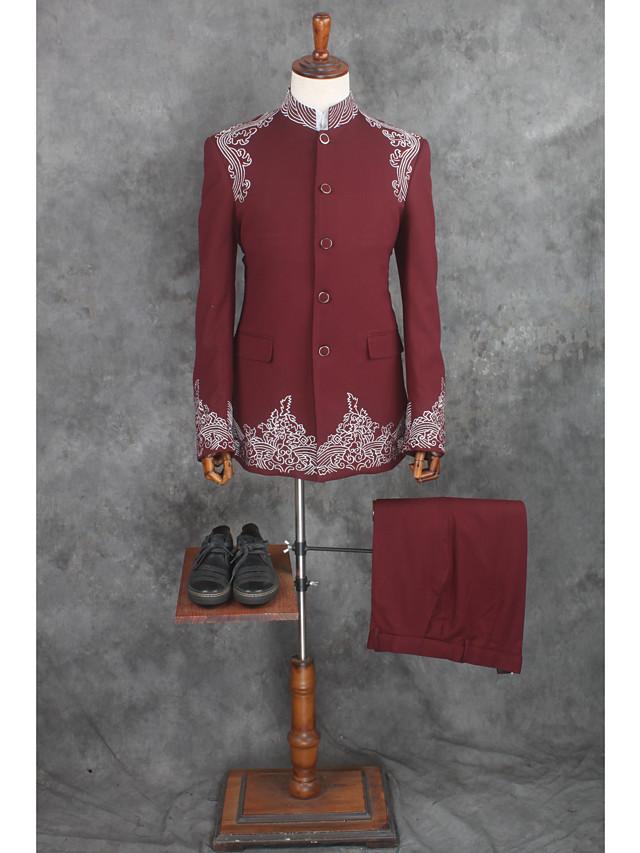 Desenli Kişiye Özel Kalıp Pamuklu / Polyester Takım elbise - Çentik Tek Sıra Düğmeli Bir Düğme / Suit