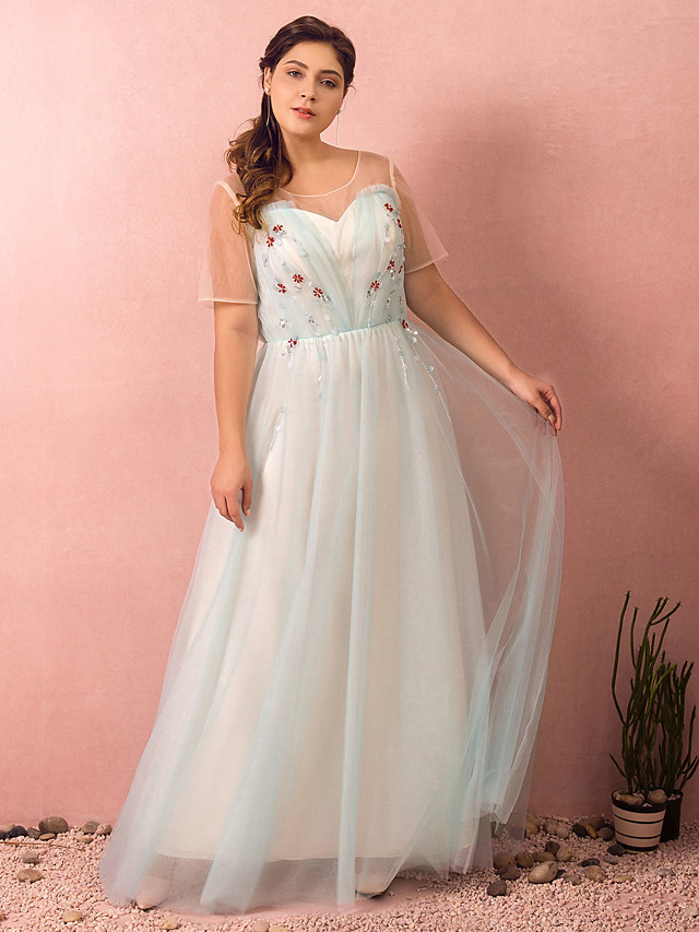 A-Line Plus Size Blue Prom Formal Evening Dress Illusion Neck Short Sleeve Floor Length Satin Tulle with Beading 2020 / Illusion Sleeve