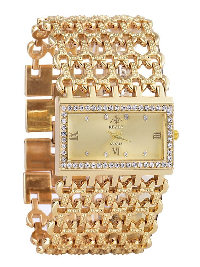 Women's Bracelet Watch Diamond Watch Gold Watch Quartz Ladies Calendar / date / day Analog Gold Silver / One Year / Chronograph / Hollow Engraving / One Year