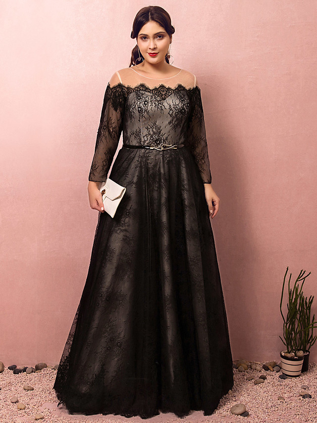 A-Line Plus Size Black Prom Formal Evening Dress Illusion Neck Off Shoulder Long Sleeve Floor Length Lace Satin Tulle with Sash / Ribbon 2020