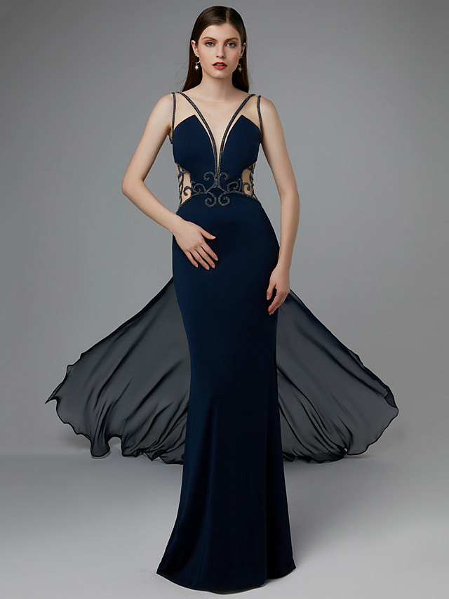 Sheath / Column Beautiful Back Formal Evening Black Tie Gala Dress Plunging Neck Sleeveless Court Train Chiffon Lace with Beading Appliques 2020