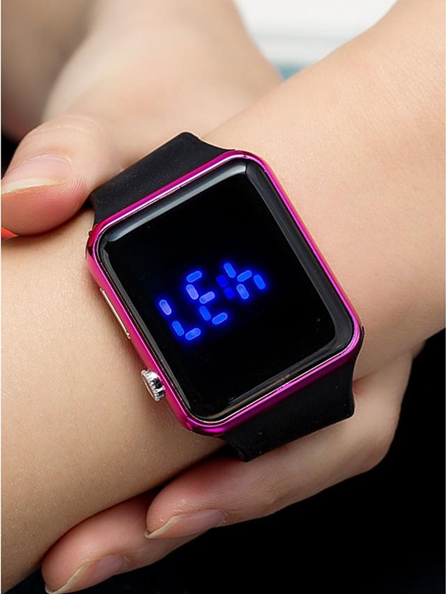Women's Digital Watch Square Watch Digital Fashion Waterproof Silicone Black Digital - Golden Rose Gold Black / LCD
