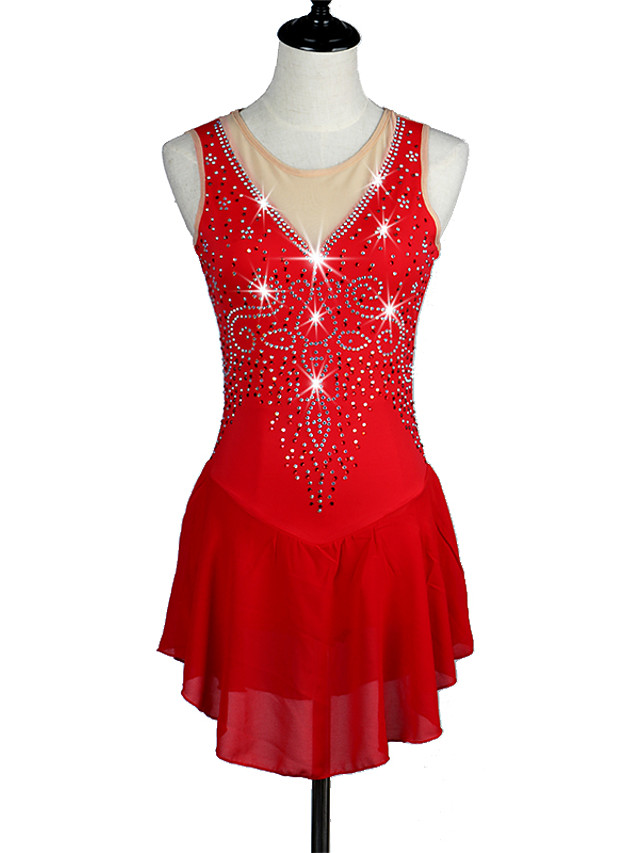 Ice Skating Dress Red High Elasticity Competition Skating Wear Snowsports Downhill / Anatomic Design