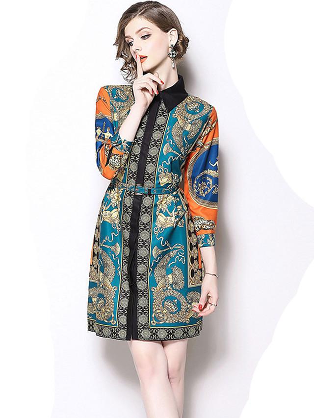 geometric print T shirt dress with wide ties Mini shift color block dress