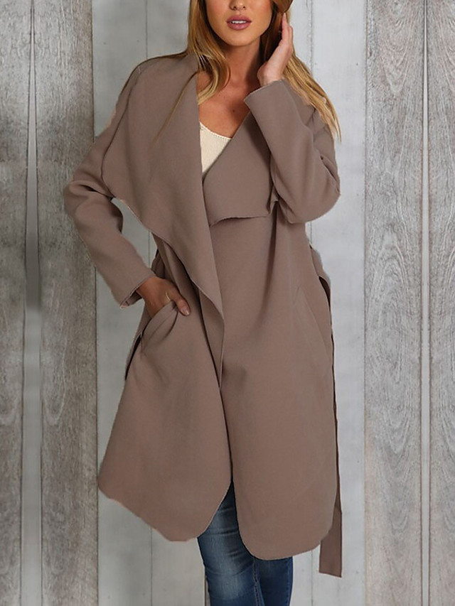 Women's Fall & Winter V Neck Coat Long Solid Colored Daily Basic Black Khaki Gray S M L XL