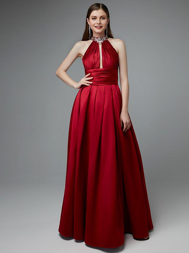 A-Line Beautiful Back Keyhole Prom Formal Evening Dress Halter Neck Sleeveless Floor Length Taffeta with Beading Split Front 2020