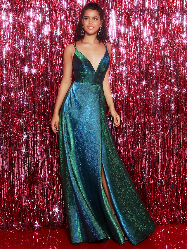 A-Line Elegant & Luxurious Minimalist Open Back Formal Evening Black Tie Gala Dress Plunging Neck Sleeveless Floor Length Sequined with Criss Cross Split Front 2020