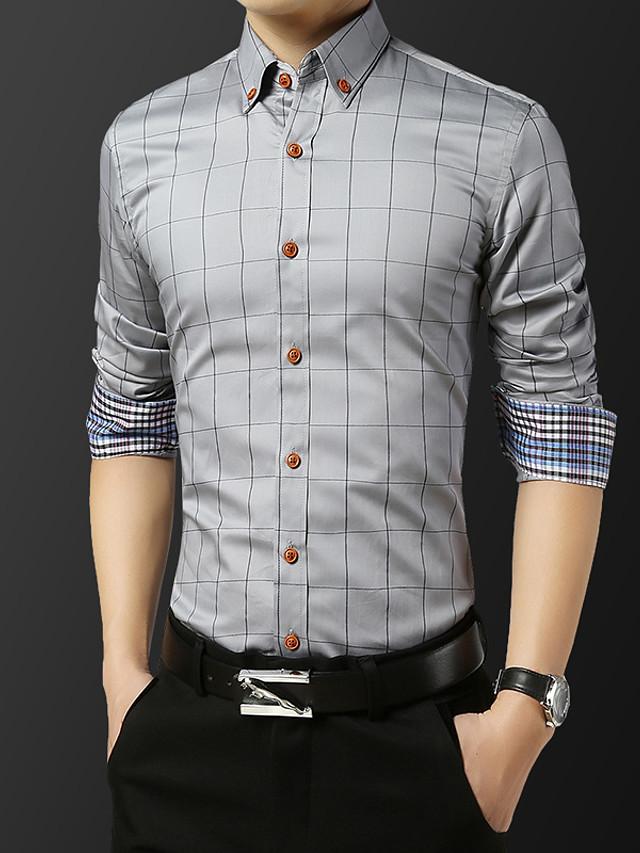 Men's Check Shirt Basic Wedding Party Daily Wine / White / Royal Blue / Light gray / Navy Blue / Light Blue