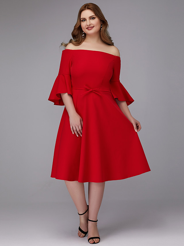 A-Line Plus Size Red Wedding Guest Cocktail Party Dress Off Shoulder Half Sleeve Knee Length Stretch Satin with Bow(s) 2020