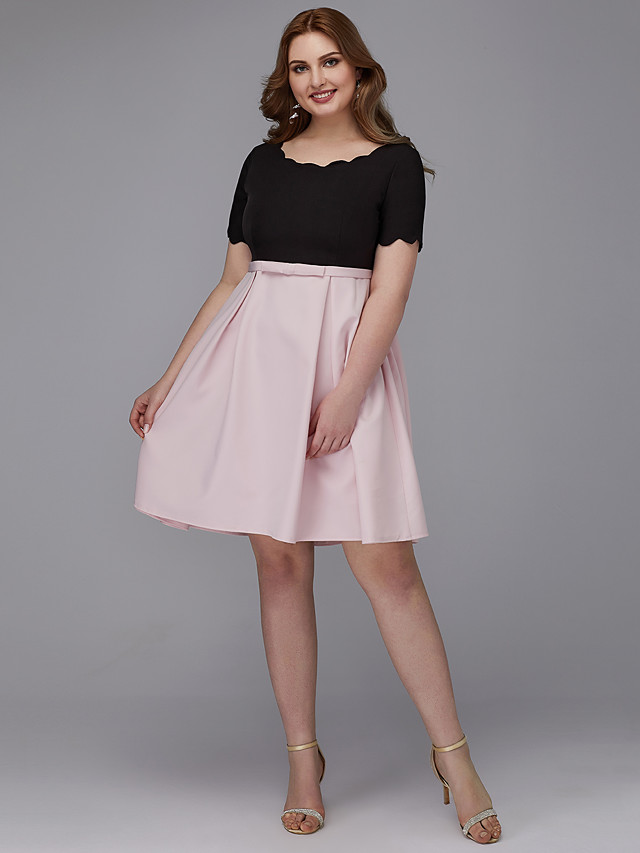 A-Line Elegant Cocktail Party Prom Dress Jewel Neck Short Sleeve Knee Length Stretch Satin with Sash / Ribbon 2020