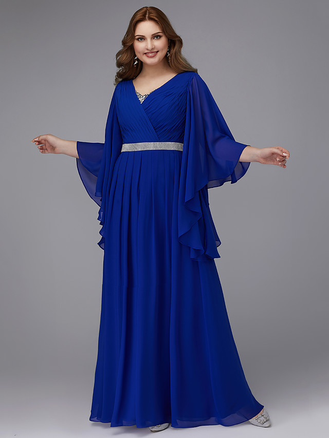 A-Line Plus Size Blue Wedding Guest Formal Evening Dress V Neck Long Sleeve Floor Length Chiffon with Crystals Sequin 2020