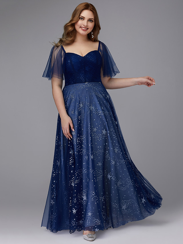 A-Line Plus Size Blue Prom Formal Evening Dress Sweetheart Neckline Short Sleeve Floor Length Tulle with Beading Pattern / Print 2020