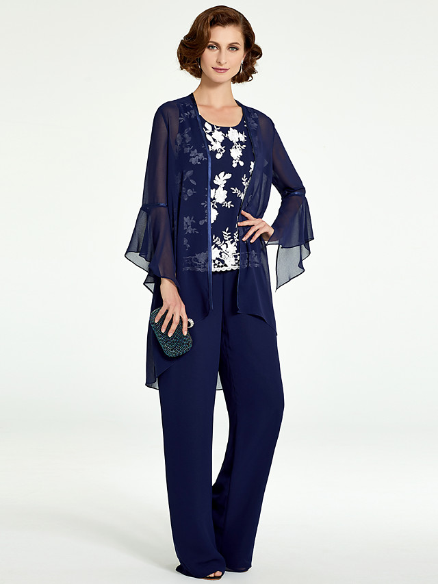 Pantsuit / Jumpsuit Mother of the Bride Dress Wrap Included Jewel Neck Floor Length Chiffon Lace Long Sleeve with Pattern / Print 2020