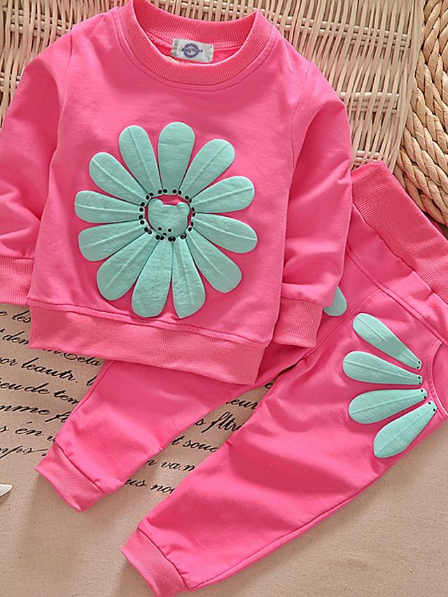 Dijete Djevojčice Osnovni Dnevno Jednobojni Dugih rukava Regularna Normalne dužine Pamuk Komplet odjeće Blushing Pink