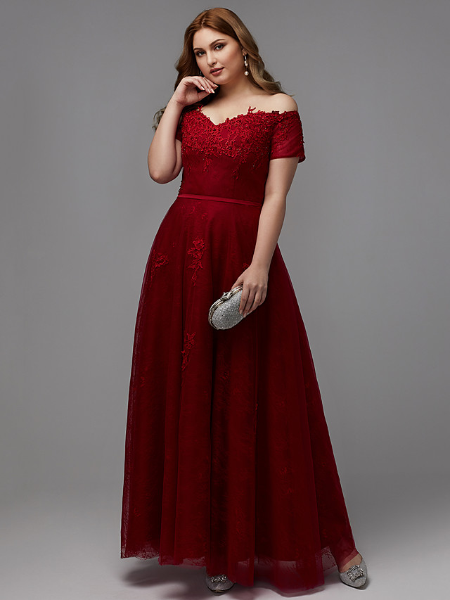 A-Line Plus Size Red Prom Formal Evening Dress Off Shoulder Short Sleeve Floor Length Lace Tulle with Beading Appliques 2020
