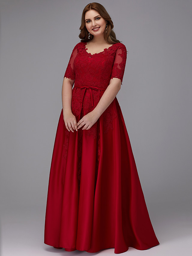 A-Line Plus Size Red Prom Formal Evening Dress V Neck Half Sleeve Floor Length Lace Satin with Sash / Ribbon Appliques 2020