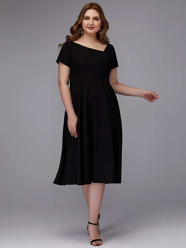 A-Line Plus Size Black Wedding Guest Cocktail Party Dress V Neck Short Sleeve Tea Length Chiffon with Pleats 2020