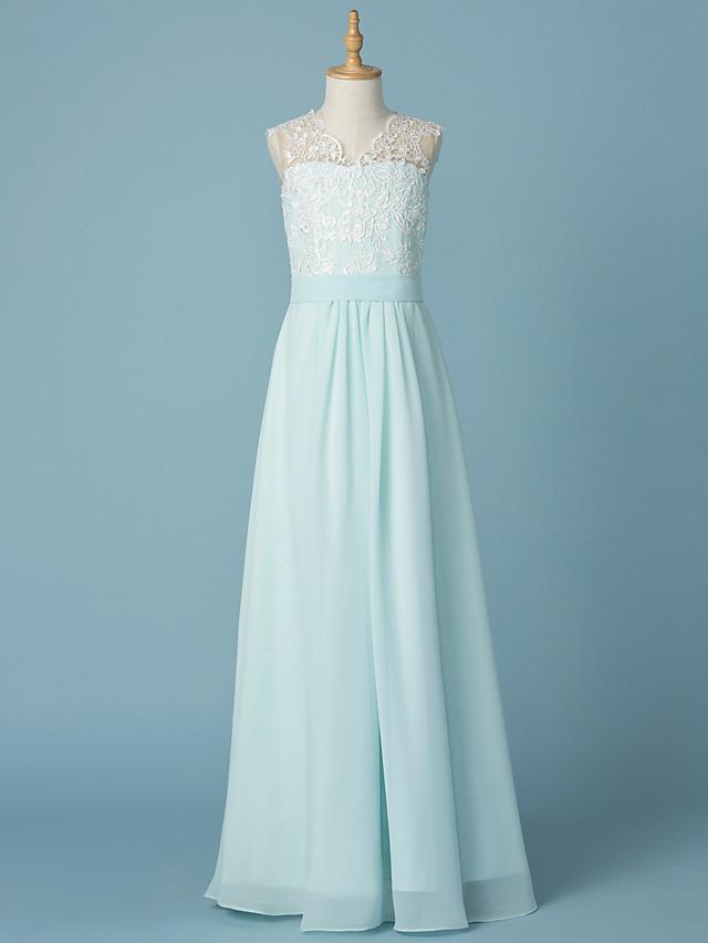 A-Line V Neck Floor Length Chiffon / Lace Junior Bridesmaid Dress with Appliques / Sash / Ribbon / Wedding Party