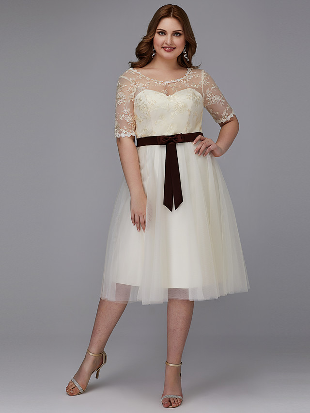 A-Line Elegant Cocktail Party Prom Dress Jewel Neck Short Sleeve Knee Length Lace Tulle with Sash / Ribbon Bow(s) Appliques 2020