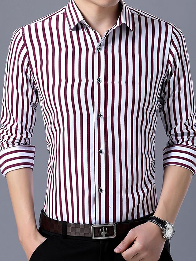 Men's Wedding Party Daily Basic Shirt - Striped Blue