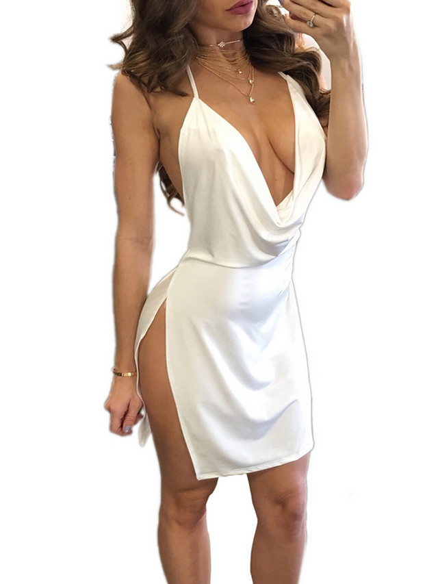 Women's Sheath Dress - Sleeveless Solid Color Ruched Split Deep V Strap Sexy Club Wine White Black Red Blushing Pink Army Green S M L XL