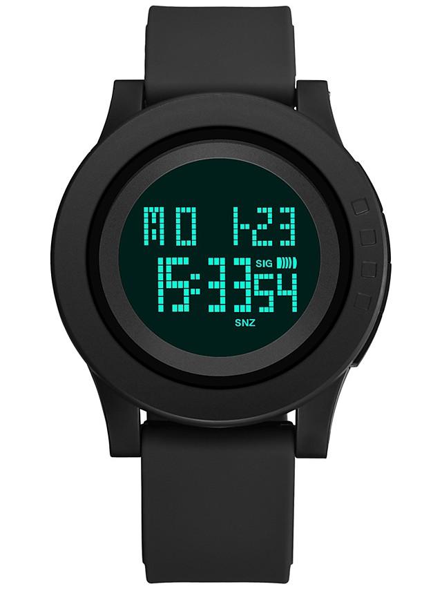 남성용 스포츠 시계 디지털 시계 일본어 디지털 실리콘 블랙 / 클로버 30 m 방수 달력 스톱워치 디지털 패션 - 그린 블랙 / 야광