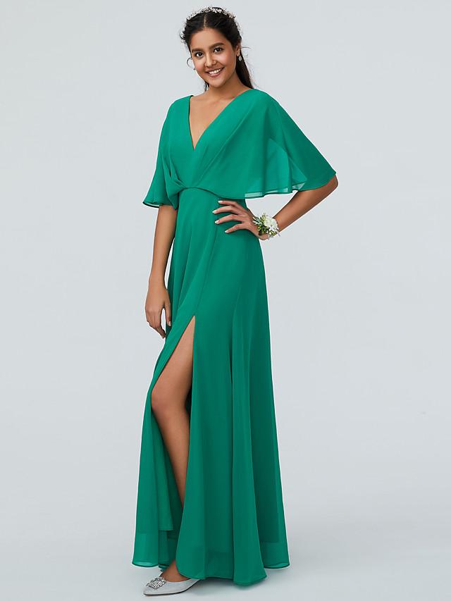 Sheath / Column V Neck Floor Length Chiffon Bridesmaid Dress with Split Front / Sparkle & Shine