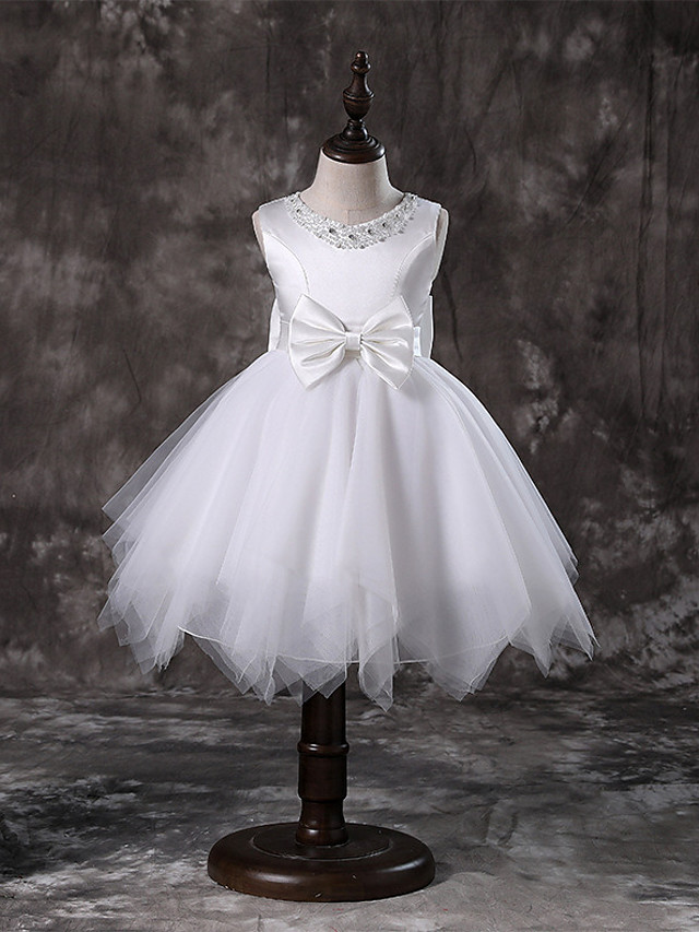 Princeza / A-kroj Do koljena / Srednja dužina Vjenčanje / Prva pričest / Inscenacija Cvjetne haljine za djevojčice - Til / Satenski šifon / Poliester Bez rukávů Ovalni izrez s Faux Pearl / Mašna