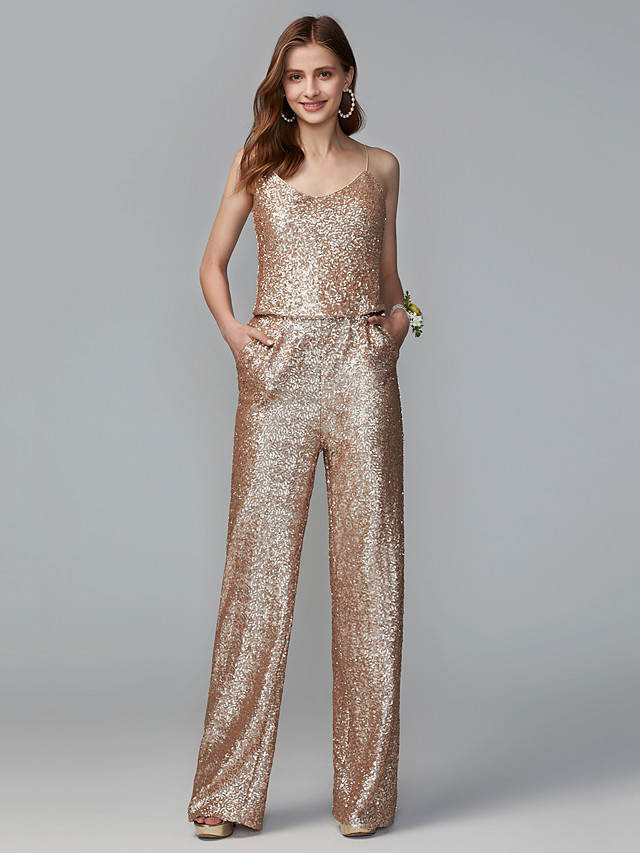 Jumpsuits Spaghetti Strap Floor Length Sequined Bridesmaid Dress with Sequin / Two Piece