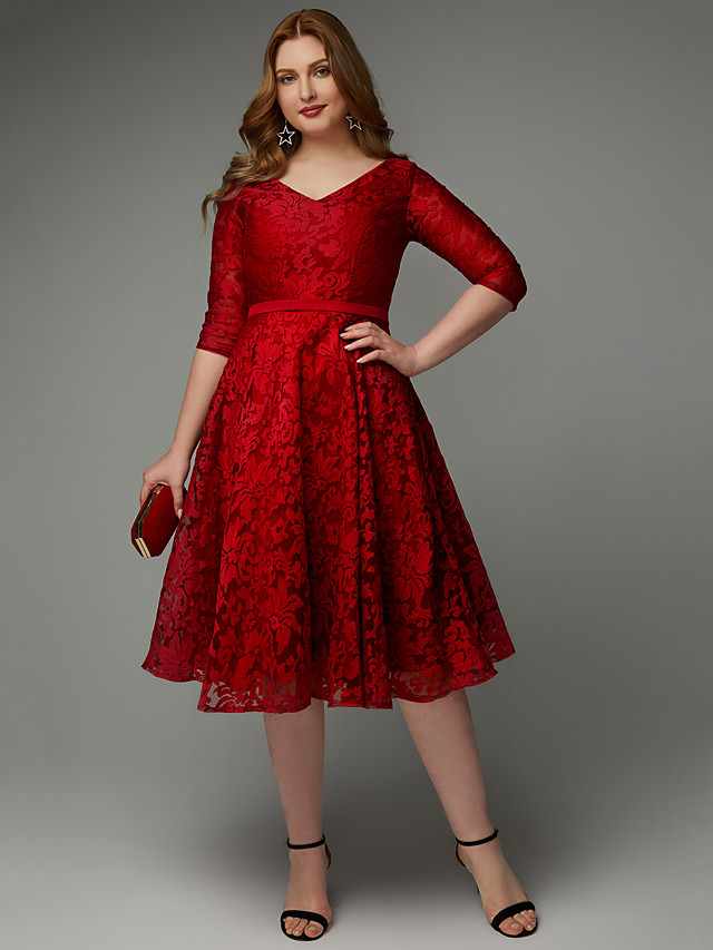 A-Line Elegant Cocktail Party Dress V Neck 3/4 Length Sleeve Knee Length Lace with Sash / Ribbon 2020