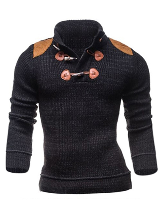 Men's Daily / Weekend Color Block Long Sleeve Slim Regular Pullover Sweater Jumper Fall / Winter Dark Gray S / M / L