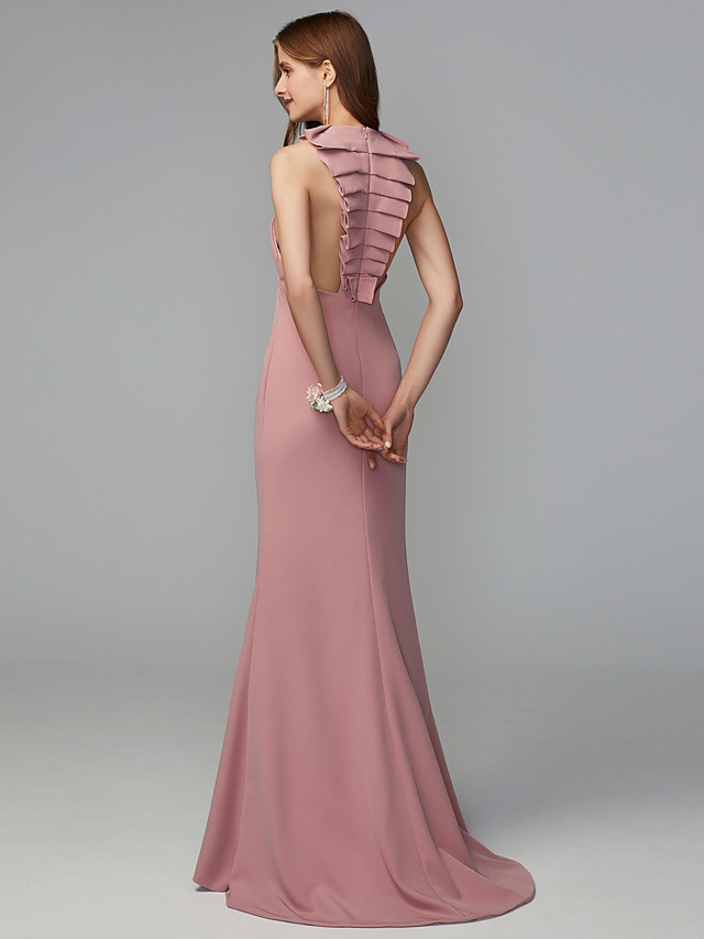 Fit & Flare Jewel Neck Midi / Sweep / Brush Train Jersey Bridesmaid Dress with Draping / Open Back