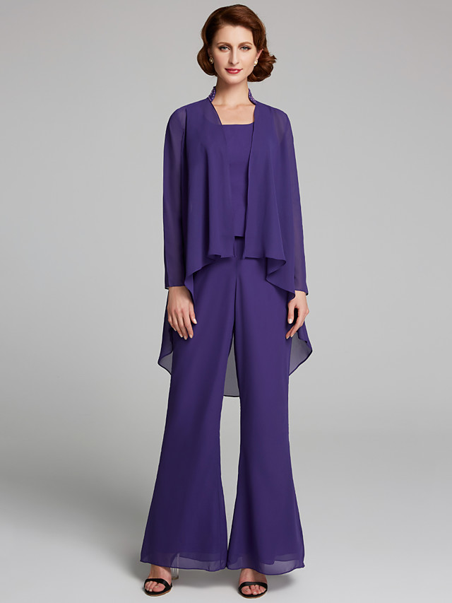 Pantsuit / Jumpsuit Mother of the Bride Dress Scoop Neck Floor Length Chiffon Sleeveless with 2020