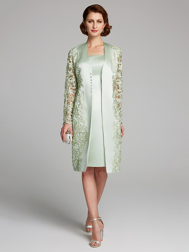 Sheath / Column Scoop Neck Knee Length Lace / Satin Long Sleeve Mother of the Bride Dress with Lace Mother's Day 2020