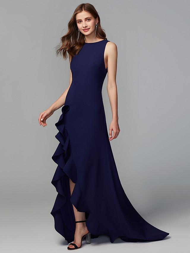 A-Line Jewel Neck Asymmetrical Chiffon Bridesmaid Dress with Ruffles / Split Front
