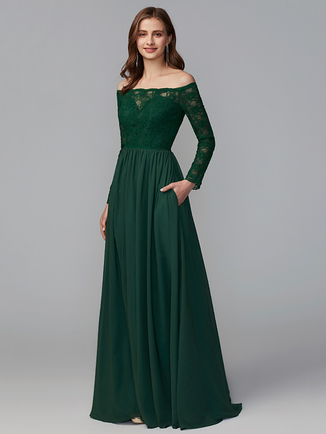 A-Line Off Shoulder Floor Length Chiffon / Lace Bridesmaid Dress with Lace