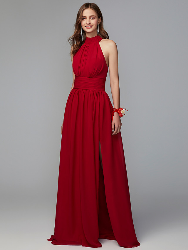 A-Line High Neck Floor Length Chiffon Bridesmaid Dress with Pleats / Split Front