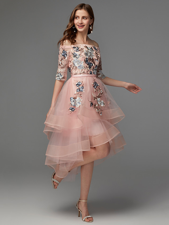 A-Line Floral Wedding Guest Cocktail Party Dress Off Shoulder Half Sleeve Asymmetrical Satin Tulle with Embroidery Appliques 2021