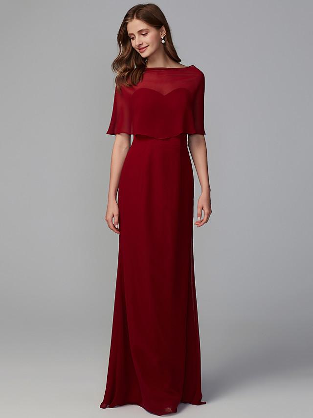 Mermaid / Trumpet Sweetheart Neckline Floor Length Georgette Bridesmaid Dress with Pleats