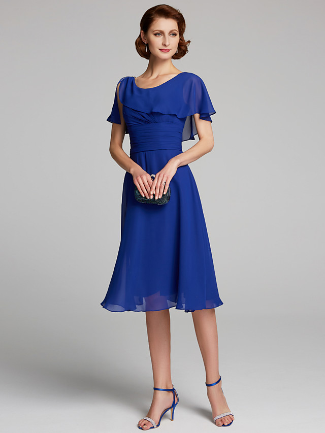 A-Line Mother of the Bride Dress Cowl Neck Knee Length Chiffon Short Sleeve with Ruffles 2020
