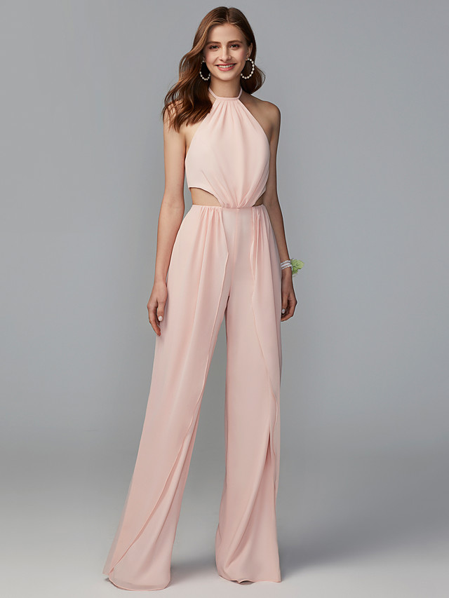 Jumpsuits Halter Neck Floor Length Knit Bridesmaid Dress with Bandage / Open Back