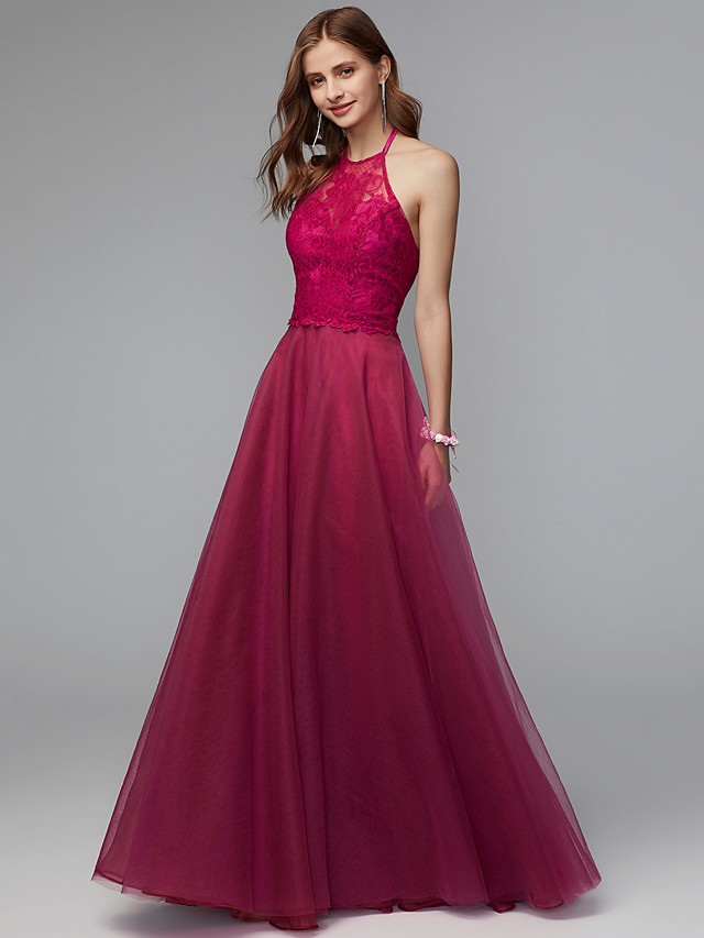 A-Line Halter Neck Floor Length Lace Bridesmaid Dress with Pleats