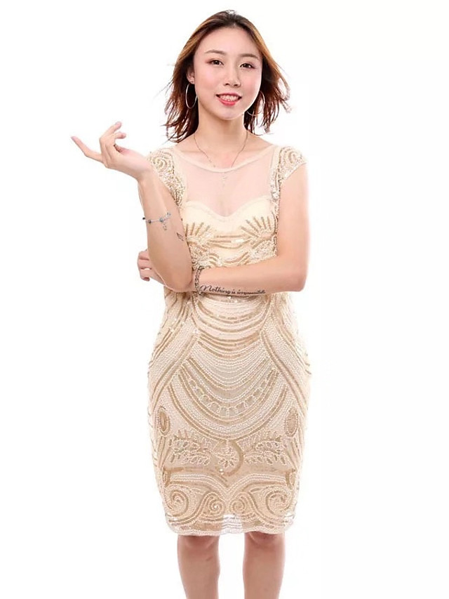 The Great Gatsby Charleston Roaring 20s 1920s Vacation Dress Flapper Dress Cocktail Dress Women's Sequins Costume Black / Beige Vintage Cosplay Party Homecoming Prom Sleeveless Short / Mini