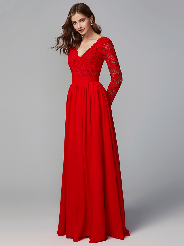 A-Line V Neck Floor Length Chiffon / Lace Bridesmaid Dress with Lace