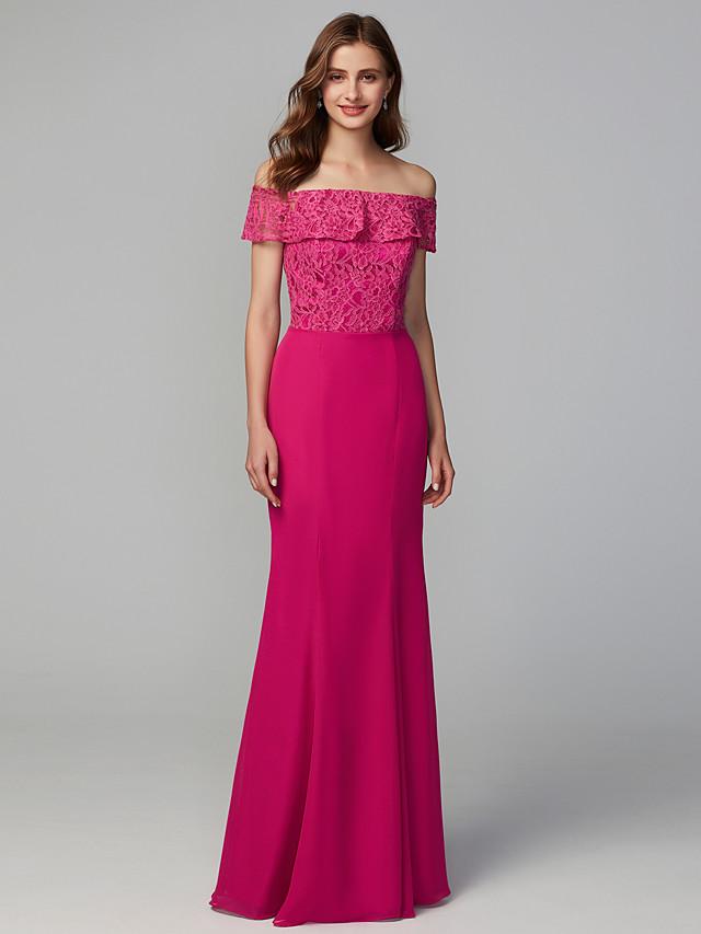 Sheath / Column Off Shoulder Floor Length Chiffon / Lace Bridesmaid Dress with Lace