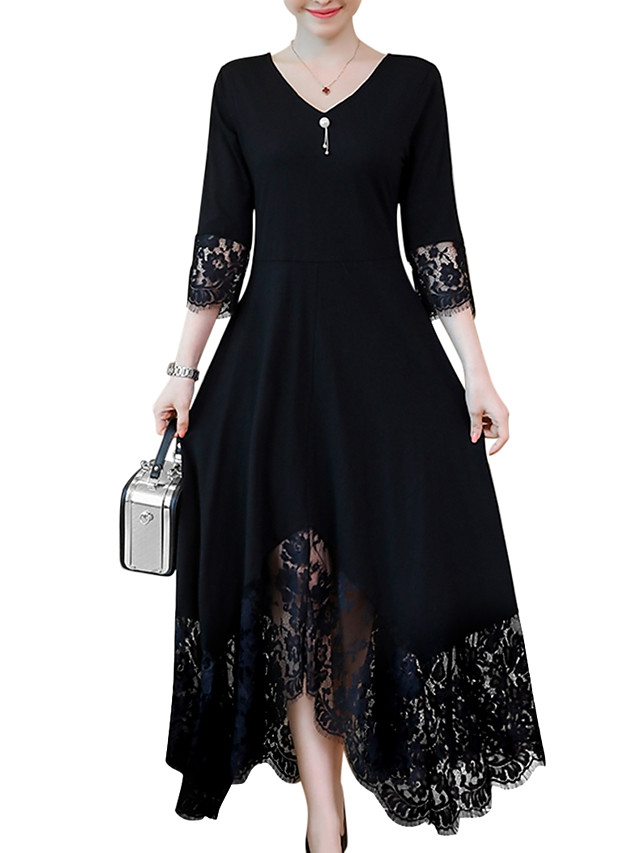 Women's Plus Size Maxi Black A Line Dress - Long Sleeve Solid Colored Lace Trims Spring Fall V Neck Daily Black L XL XXL XXXL XXXXL XXXXXL XXXXXXL