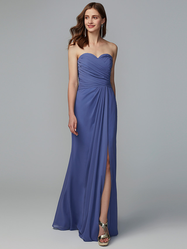Sheath / Column Sweetheart Neckline Floor Length Chiffon Bridesmaid Dress with Pleats / Split Front
