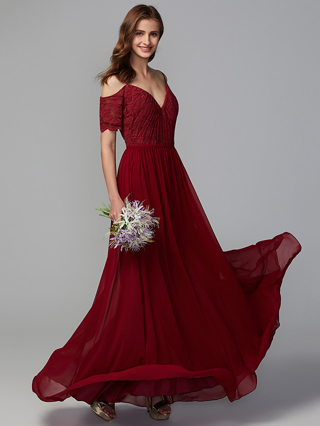 A-Line Spaghetti Strap Floor Length Chiffon / Lace Bridesmaid Dress with Lace / Ruching